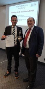 Der AICB-Qualitätspreis wird an Technodata für herausragendes Qualitätsmanagement verliehen.